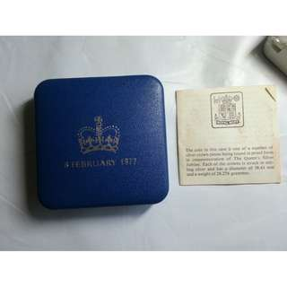 Vintage Sterling Silver 1977 Commemorative Silver Jubilee Crown in display box