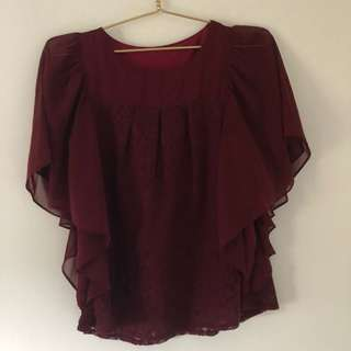 Lace Burgundy Batwing