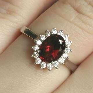🎍Natural Red Garnet Classic Princess Ring🎍