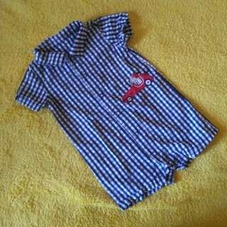 Carter's Onesies short checkered blue
