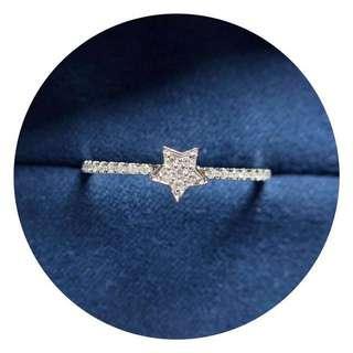 小星星鑽石18k白金戒指💍全新現貨12.5號可免費改size