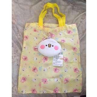 全新正版卡娜赫拉 P助 購物袋 環保袋 造型布袋  袋子 防水 可收納至P助娃娃  38*42 CM