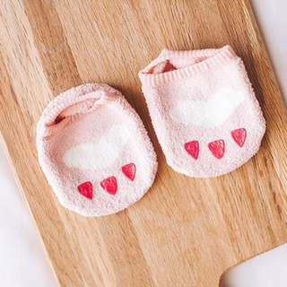 🐰Instock - pink paw socks, baby infant toddler girl children sweet kid happy abcdefg