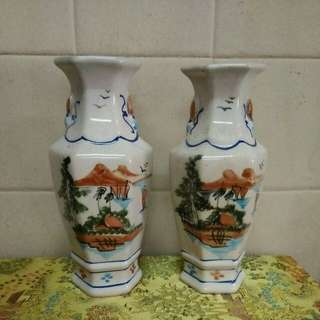 老旧六角花瓶 1对(old)高22x9cm