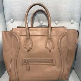 Celine mini luggage tote bag beige leather