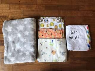 Bundle of fleece blanket and cotton blankets