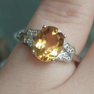 Natural Yellow Citrine Crystal Oval Classic Ring