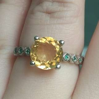 Natural Fireworks Yellow Citrine Crystal Ring