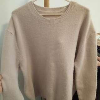 🚚 藕色質感舒服刷毛毛衣上衣