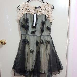 Beautiful sexy formal black butterfly skater dress
