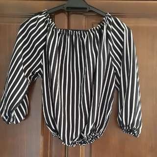 Off Shoulder Top (Black & White Stripes)