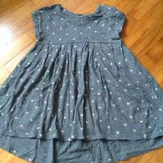 Gap Grey Gold Polka Dots Dress
