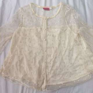 Lace Long Sleeve Blouse Top