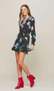 Miss selfridge petite floral spotted tea dress
