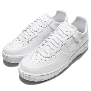 歡慶開工便宜售出 男 NIKE  Air Force 1 Ultraforce LTHR 休閒鞋 氣墊 全白 845052100