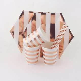 41pc Rose Gold Party Tableware set - Paper Plates Cups Straws