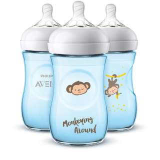 🆕🚼Philips AVENT Blue Monkey 2018 Limited Edition Natural Bottle (3 Pack)