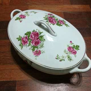"11.5"" Tureen LAMA ""MOSS ROSE CHINA"""