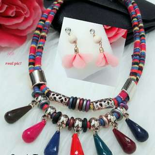 K.A 2in1 F Pink 39.000 - 1 set Kalung + Anting