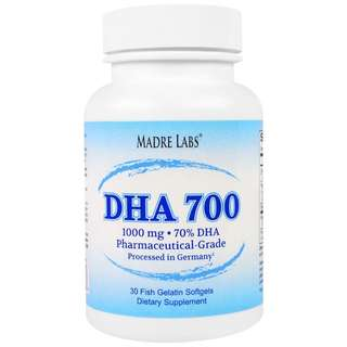 改善記憶能力及心臟血管 深海魚油丸 DHA 700 Fish Oil, Madre Labs, Pharmaceutical Grade, 1000 mg