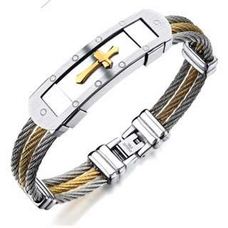 Men's Stainless Bracelet Cross Bracelet
