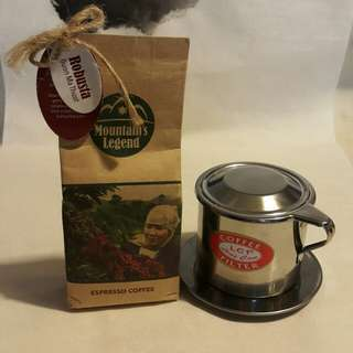 Coffee Filter with Vietnam Espresso Coffee - Mountain's Legend - 100g