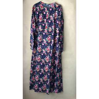 Long Dress Syarii Bunga Navy