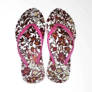 The Alas Kaki Sandal Jepit Wanita Cantik Motif Batik Pink Size 36