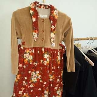 🚚 童裝/進口冬天刷毛花瓣質感長版洋裝