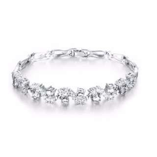 Lady's Luxury White Gold plated and Swiss AAA Cubic Zirconia bracelet