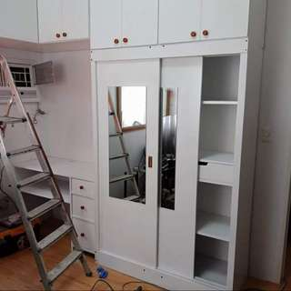 custom sliding closet/ cabinet and study table