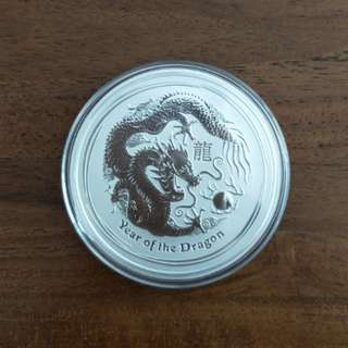 2012 2oz Dragon Silver Coin - Perth Mint