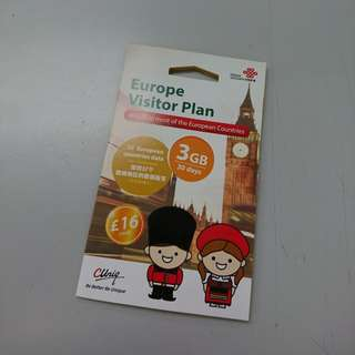 歐洲漫遊卡 Travel Europe Data Sim Card 3GB 包郵