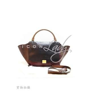 CELINE Trapeze 拼色三色 (深淺啡色 & 酒紅色) 柔軟小牛皮/小羊皮 Tri-tone 購物袋 肩背袋 手挽袋 手袋