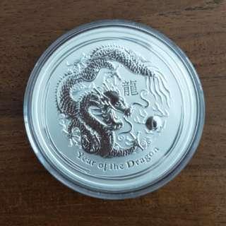 2012 5oz Dragon Silver Coin - Perth Mint