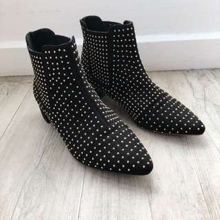 Topshop Black Studded Ankle Boots Chelsea