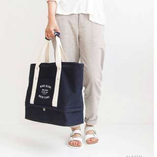 (NAVY BLUE) Korean Design Layer Bag/ Travel Cabin Tote Bag/ Travel Organizer/ Shoe Bag/ Canvas Bag