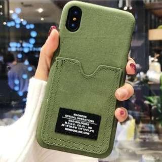 手機殼IPhone6/7/8/plus/X : 個性迷彩插口袋