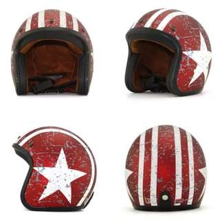 Red with White Racing Stripes and Star Motorcycle Helmet Open Face Three Button Snap Retro Vintage Vespa Scooter Cafe Racer Motorbike Leather Gloss Old School Harley Davidson