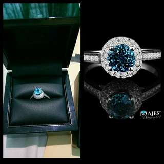 DIAMOND RING BLUE TOPAZ(SERTIFIKAT MAJESTY DIANOND, MONTREAL CANADA)