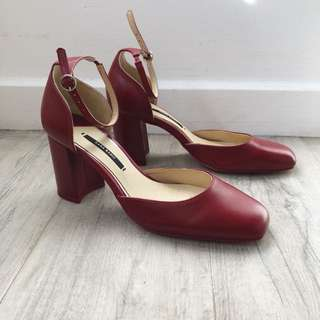 Zara Maroon Red Burgundy Ankle strap Block Heel