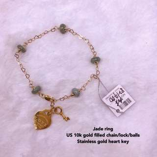 10k lucky heart key bracelet