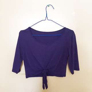 Navy Blue Knotted Crop Top