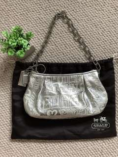 Authentic Coach silver leather evening bag