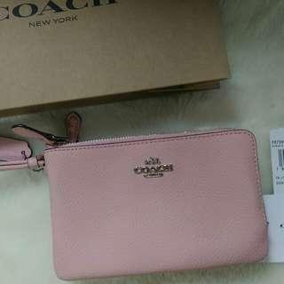 COACH粉色雙層拉鍊手拿包