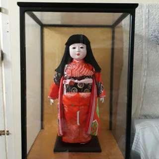 Japanese Geisha Doll with Glass Cabinet