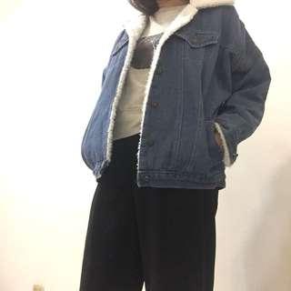 韓版落肩寬鬆羊羔毛牛仔外套加厚款