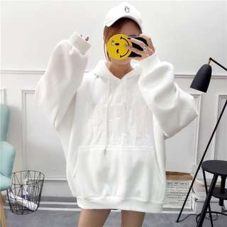 [PO] (4 colors) embroidered wording oversized hoodie
