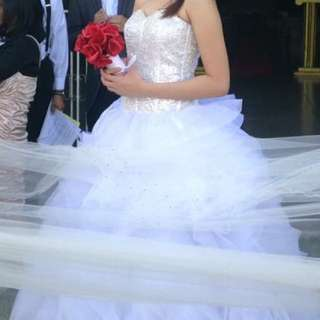 WHITE BALL GOWN FOR RENT!