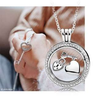 Pandora Floating Locket Necklace with Pendant Petite Charm Sparkling Key Lock